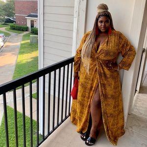 Yellow snake skin dress